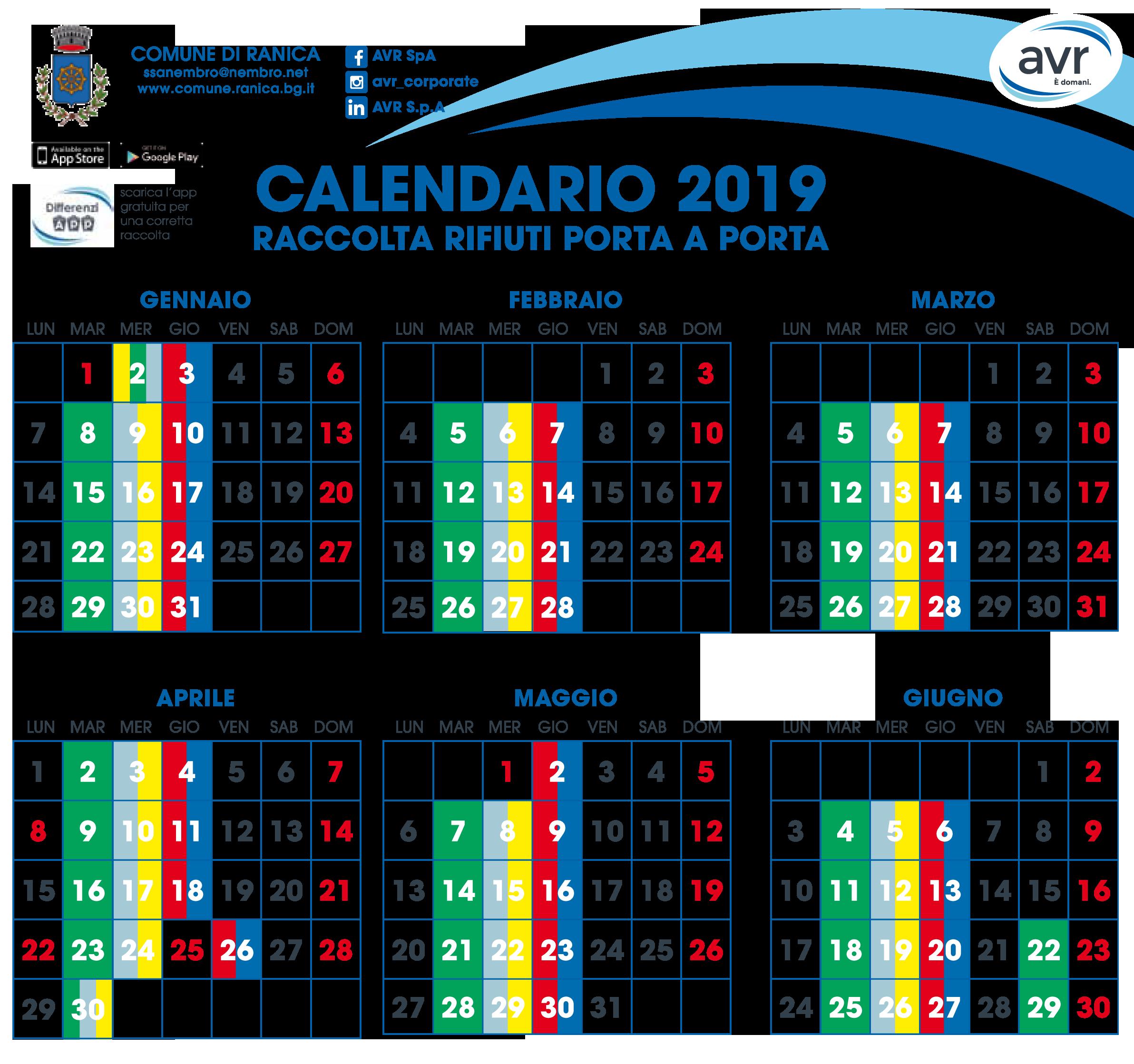 Calendario Raccolta.Calendario Raccolta Rifiuti Porta A Porta Comune Di Ranica